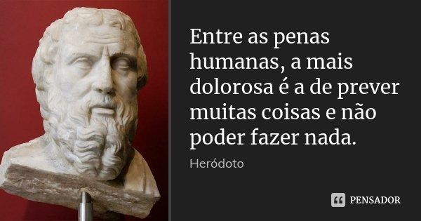 Entre as penas humanas, a mais dolorosa é a de prever muitas coisas e não poder fazer nada.... Frase de Heródoto.