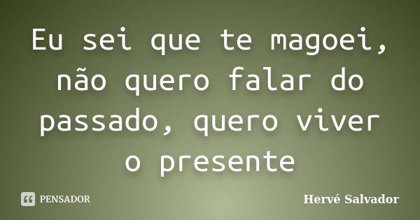 Eu sei que te magoei, não quero falar do passado, quero viver o presente... Frase de Hervé Salvador.