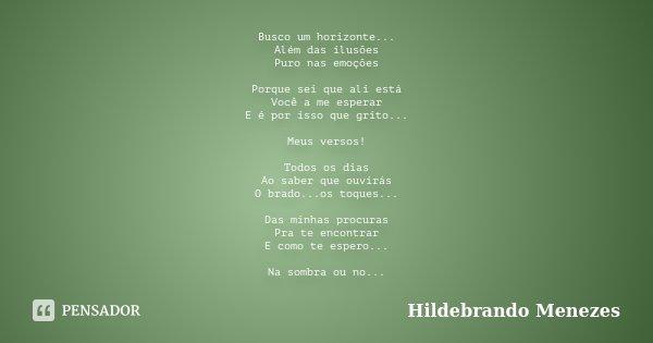 Busco um horizonte... Além das ilusões Puro nas emoções Porque sei que ali está Você a me esperar E é por isso que grito... Meus versos! Todos os dias Ao saber ... Frase de Hildebrando Menezes.