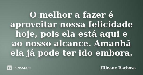 O melhor a fazer é aproveitar nossa felicidade hoje, pois ela está aqui e ao nosso alcance. Amanhã ela já pode ter ido embora.... Frase de Hileane Barbosa.
