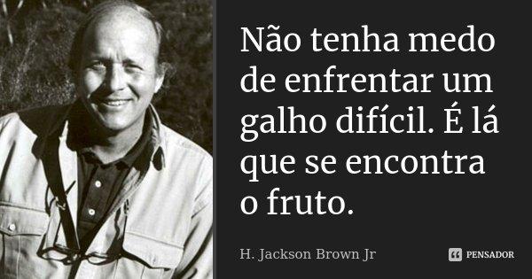 Não tenha medo de enfrentar um galho difícil. É lá que se encontra o fruto.... Frase de H. Jackson Brown Jr.