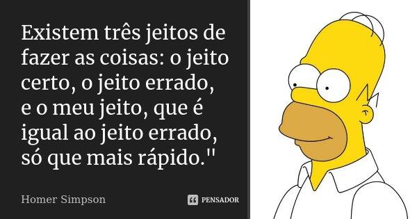 """Existem três jeitos de fazer as coisas: o jeito certo, o jeito errado, e o meu jeito, que é igual ao jeito errado, só que mais rápido.""""... Frase de Homer Simpson."""