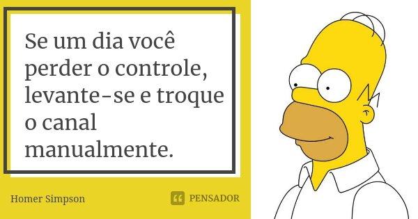 Se um dia você perder o controle, levante-se e troque o canal manualmente.... Frase de Homer Simpson.