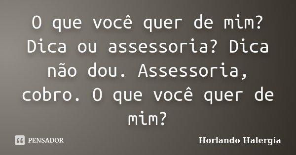 O que você quer de mim? Dica ou assessoria? Dica não dou. Assessoria, cobro. O que você quer de mim?... Frase de Horlando Halergia.