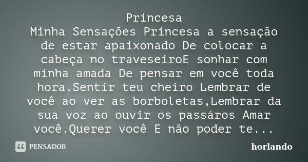 Princesa Minha Sensações Princesa a sensação de estar apaixonado De colocar a cabeça no traveseiroE sonhar com minha amada De pensar em você toda hora.Sentir te... Frase de horlando.