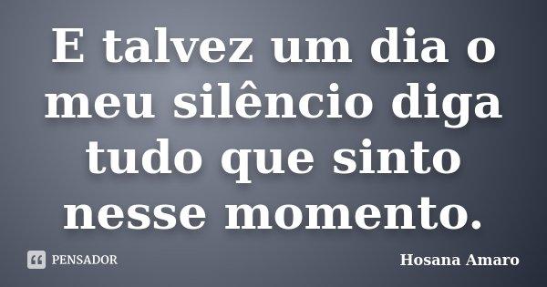 E talvez um dia o meu silêncio diga tudo que sinto nesse momento.... Frase de Hosana Amaro.