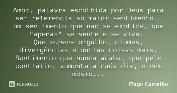 """Amor, palavra escolhida por Deus para ser referencia ao maior sentimento, um sentimento que não se explica, que """"apenas"""" se sente e se vive. Que super... Frase de Hugo Carvalho."""