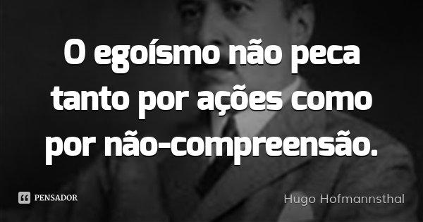 O egoísmo não peca tanto por ações como por não-compreensão.... Frase de Hugo Hofmannsthal.