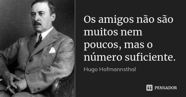 Os amigos não são muitos nem poucos, mas o número suficiente.... Frase de Hugo Hofmannsthal.