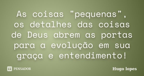 """As coisas """"pequenas"""", os detalhes das coisas de Deus abrem as portas para a evolução em sua graça e entendimento!... Frase de Hugo Lopes."""