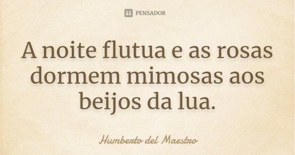 A noite flutua e as rosas dormem mimosas aos beijos da lua.... Frase de Humberto del Maestro.