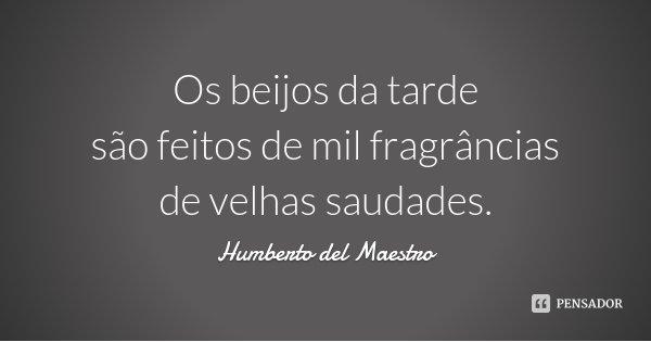 Os beijos da tarde são feitos de mil fragrâncias de velhas saudades.... Frase de Humberto del Maestro.