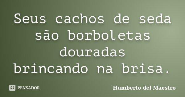 Seus cachos de seda são borboletas douradas brincando na brisa.... Frase de Humberto del Maestro.