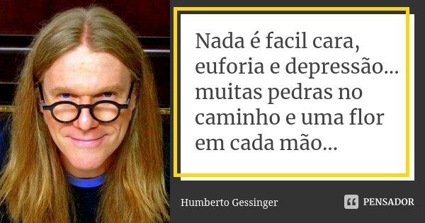 Nada é facil cara, euforia e depressão... muitas pedras no caminho e uma flor em cada mão...... Frase de Humberto Gessinger.
