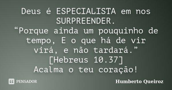 """Deus é ESPECIALISTA em nos SURPREENDER. """"Porque ainda um pouquinho de tempo, E o que há de vir virá, e não tardará."""" [Hebreus 10.37] Acalma o teu coração!... Frase de Humberto Queiroz."""