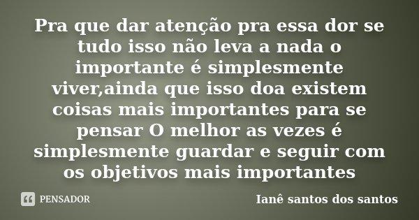 Pra que dar atenção pra essa dor se tudo isso não leva a nada o importante é simplesmente viver,ainda que isso doa existem coisas mais importantes para se pensa... Frase de Ianê Santos dos Santos.