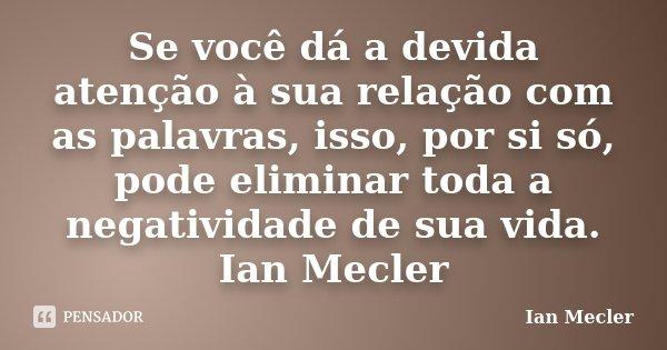 Se você dá a devida atenção à sua relação com as palavras, isso, por si só, pode eliminar toda a negatividade de sua vida. Ian Mecler... Frase de Ian Mecler.