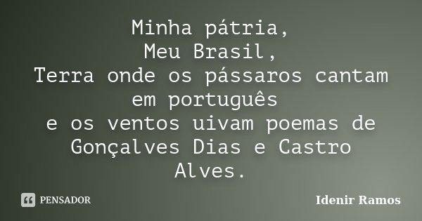 Minha pátria, Meu Brasil, Terra onde os pássaros cantam em português e os ventos uivam poemas de Gonçalves Dias e Castro Alves.... Frase de Idenir Ramos.