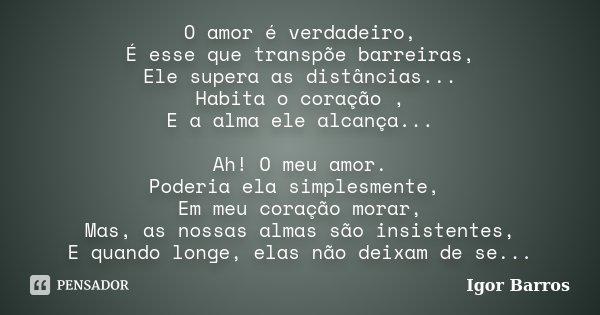 O amor é verdadeiro, É esse que transpõe barreiras, Ele supera as distâncias... Habita o coração , E a alma ele alcança... Ah! O meu amor. Poderia ela simplesme... Frase de Igor Barros.