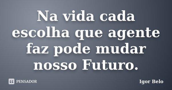 Na vida cada escolha que agente faz pode mudar nosso Futuro.... Frase de Igor Belo.