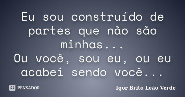 Eu sou construído de partes que não são minhas... Ou você, sou eu, ou eu acabei sendo você...... Frase de Igor Brito Leão Verde.