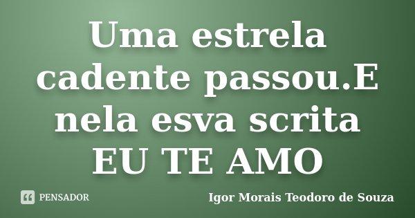 Uma estrela cadente passou.E nela esva scrita EU TE AMO... Frase de Igor Morais Teodoro de Souza.