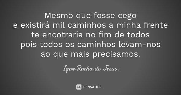 Mesmo que fosse cego e existirá mil caminhos a minha frente te encotraria no fim de todos pois todos os caminhos levam-nos ao que mais precisamos.... Frase de Igor Rocha de Jesus.