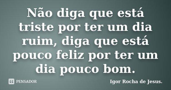 Não diga que está triste por ter um dia ruim, diga que está pouco feliz por ter um dia pouco bom.... Frase de Igor Rocha de Jesus.