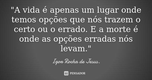 """""""A vida é apenas um lugar onde temos opções que nós trazem o certo ou o errado. E a morte é onde as opções erradas nós levam.""""... Frase de Igor Rocha de Jesus."""