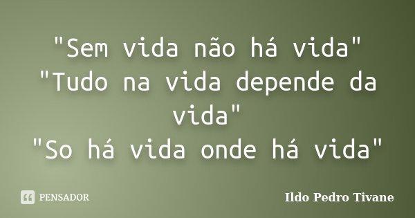 """""""Sem vida não há vida"""" """"Tudo na vida depende da vida"""" """"So há vida onde há vida""""... Frase de Ildo Pedro Tivane."""
