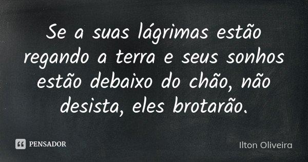 Se a suas lágrimas estão regando a terra e seus sonhos estão debaixo do chão, não desista, eles brotarão.... Frase de Ilton Oliveira.