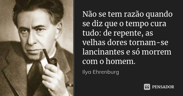 Não se tem razão quando se diz que o tempo cura tudo: de repente, as velhas dores tornam-se lancinantes e só morrem com o homem.... Frase de Ilya Ehrenburg.