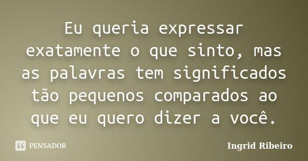 Eu queria expressar exatamente o que sinto, mas as palavras tem significados tão pequenos comparados ao que eu quero dizer a você.... Frase de Ingrid Ribeiro.