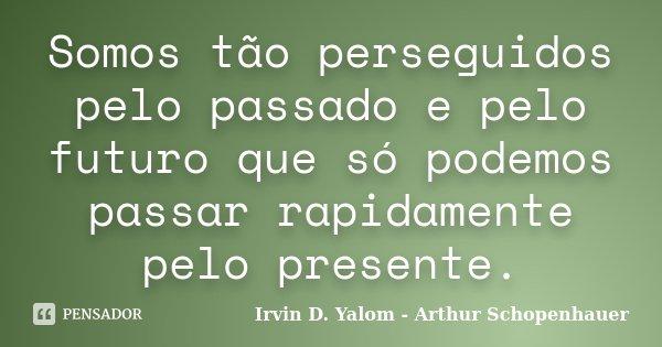 Somos tão perseguidos pelo passado e pelo futuro que só podemos passar rapidamente pelo presente.... Frase de Irvin D. Yalom - Arthur Schopenhauer.