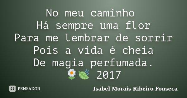 No meu caminho Há sempre uma flor Para me lembrar de sorrir Pois a vida é cheia De magia perfumada. 🌼🍃 2017... Frase de Isabel Morais Ribeiro Fonseca.