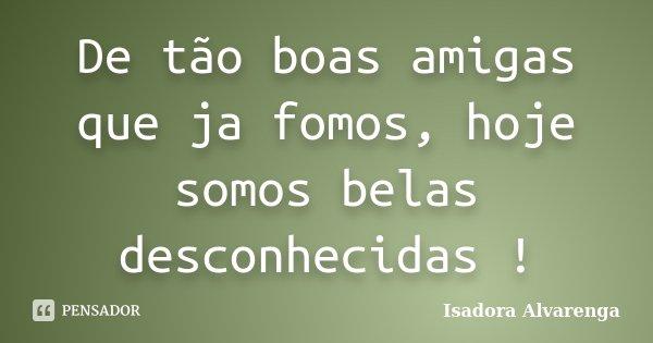 De tão boas amigas que ja fomos, hoje somos belas desconhecidas !... Frase de Isadora Alvarenga.