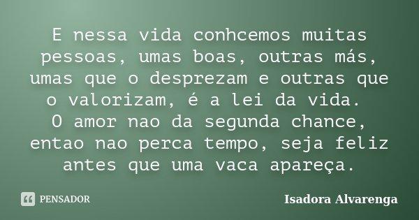 E nessa vida conhcemos muitas pessoas, umas boas, outras más, umas que o desprezam e outras que o valorizam, é a lei da vida. O amor nao da segunda chance, enta... Frase de Isadora Alvarenga.