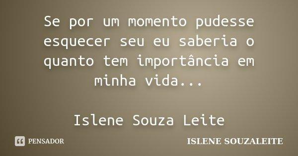 Se por um momento pudesse esquecer seu eu saberia o quanto tem importância em minha vida... Islene Souza Leite... Frase de ISLENE SOUZALEITE.