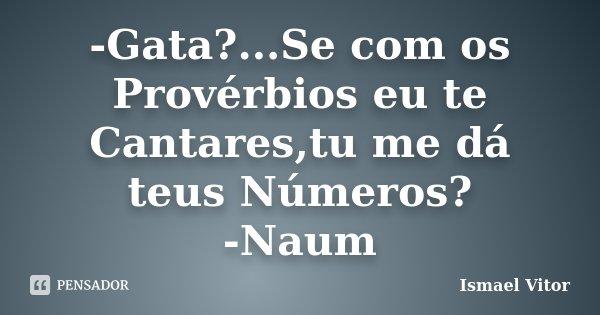 -Gata?...Se com os Provérbios eu te Cantares,tu me dá teus Números? -Naum... Frase de Ismael Vitor.