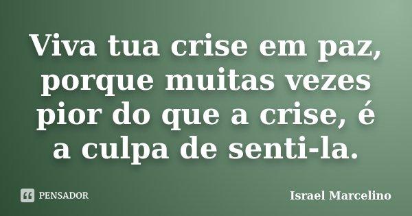 Viva tua crise em paz, porque muitas vezes pior do que a crise, é a culpa de senti-la.... Frase de Israel Marcelino.