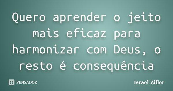 Quero aprender o jeito mais eficaz para harmonizar com Deus, o resto é consequência... Frase de Israel Ziller.
