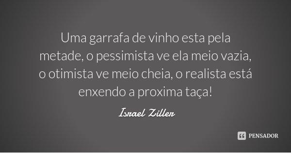 Uma garrafa de vinho esta pela metade, o pessimista ve ela meio vazia, o otimista ve meio cheia, o realista está enxendo a proxima taça!... Frase de Israel Ziller.