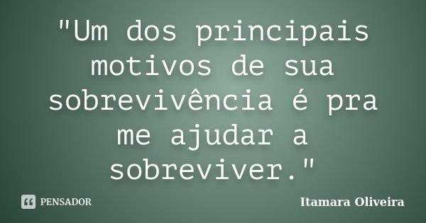 """""""Um dos principais motivos de sua sobrevivência é pra me ajudar a sobreviver.""""... Frase de Itamara Oliveira."""