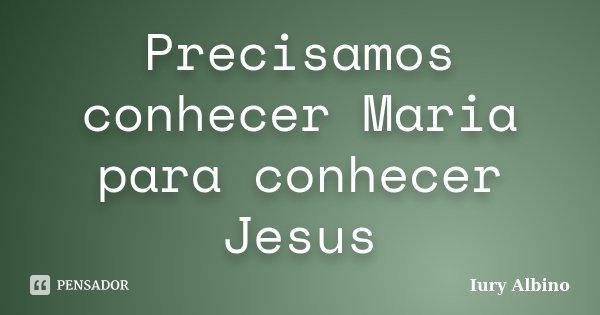 Precisamos conhecer Maria para conhecer Jesus... Frase de Iury Albino.