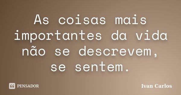 As coisas mais importantes da vida não se descrevem, se sentem.... Frase de Ivan Carlos.