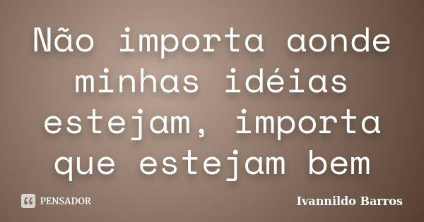 Não importa aonde minhas idéias estejam, importa que estejam bem... Frase de Ivannildo Barros.