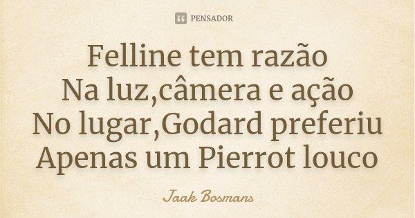 Felline tem razão Na luz,câmera e ação No lugar,Godard preferiu Apenas um Pierrot louco... Frase de Jaak Bosmans.