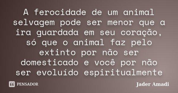 A ferocidade de um animal selvagem pode ser menor que a ira guardada em seu coração, só que o animal faz pelo extinto por não ser domesticado e você por não ser... Frase de Jader Amadi.