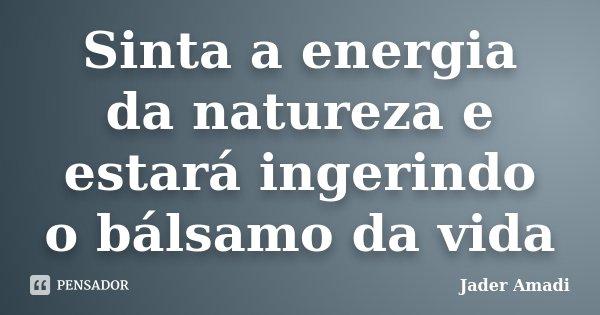 Sinta a energia da natureza e estará ingerindo o bálsamo da vida... Frase de Jader Amadi.
