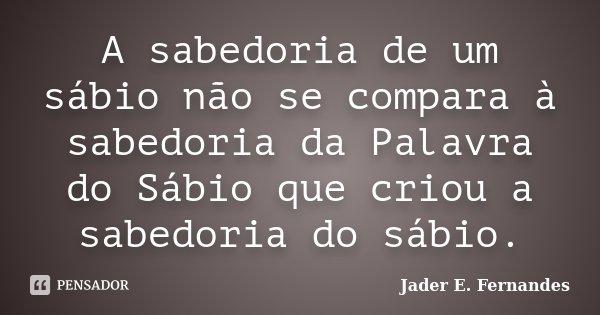 A sabedoria de um sábio não se compara à sabedoria da Palavra do Sábio que criou a sabedoria do sábio.... Frase de Jader E. Fernandes.
